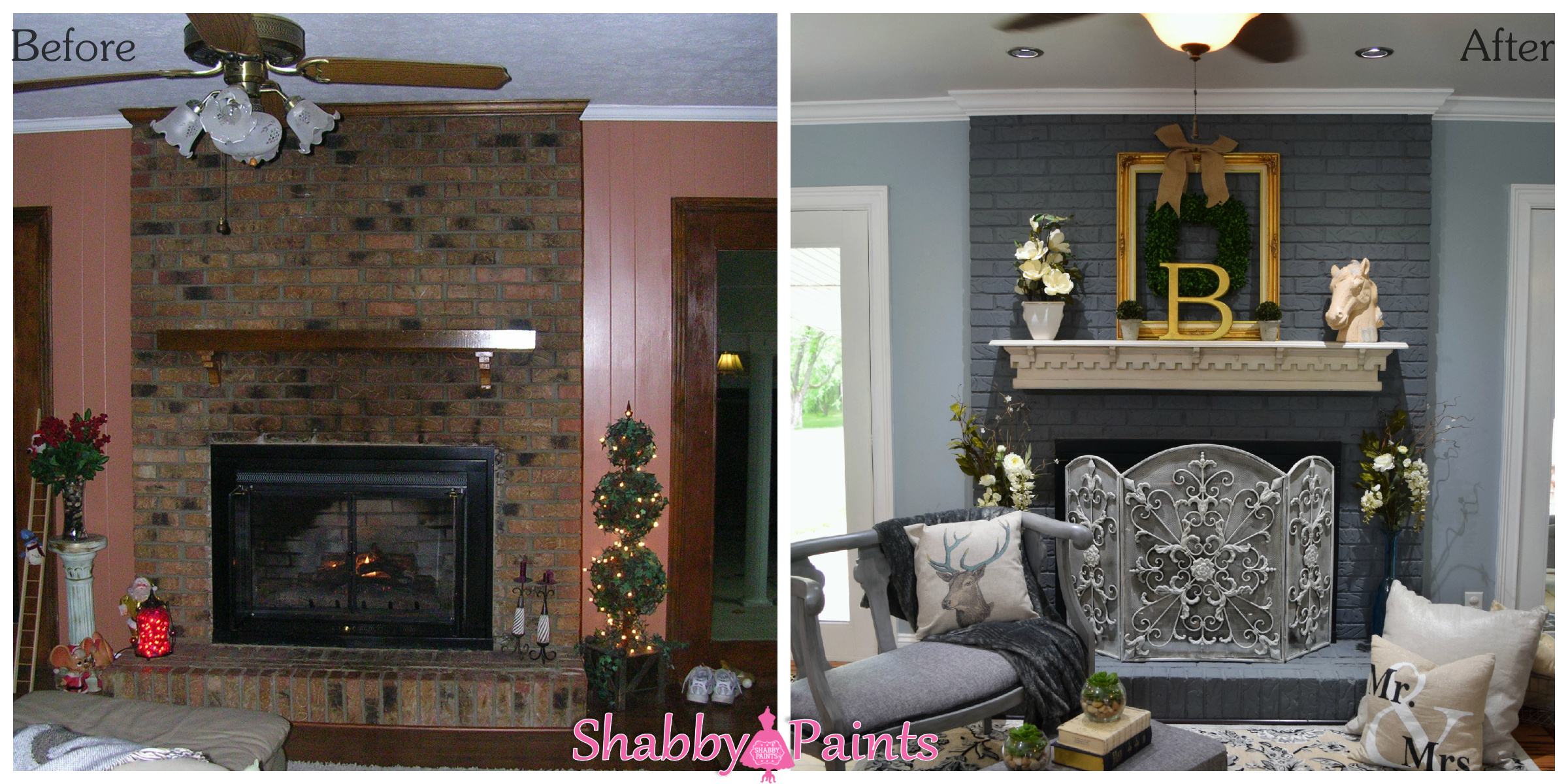 chalk acrylic painted fireplace brick shabby paints. Black Bedroom Furniture Sets. Home Design Ideas