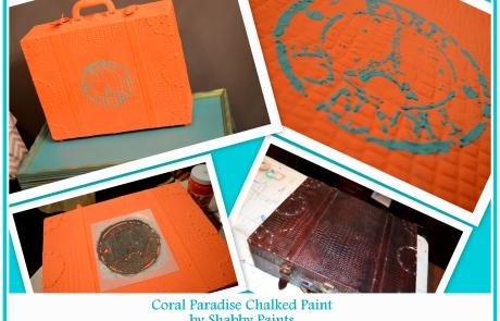 coral paradise texture stencil suitcase
