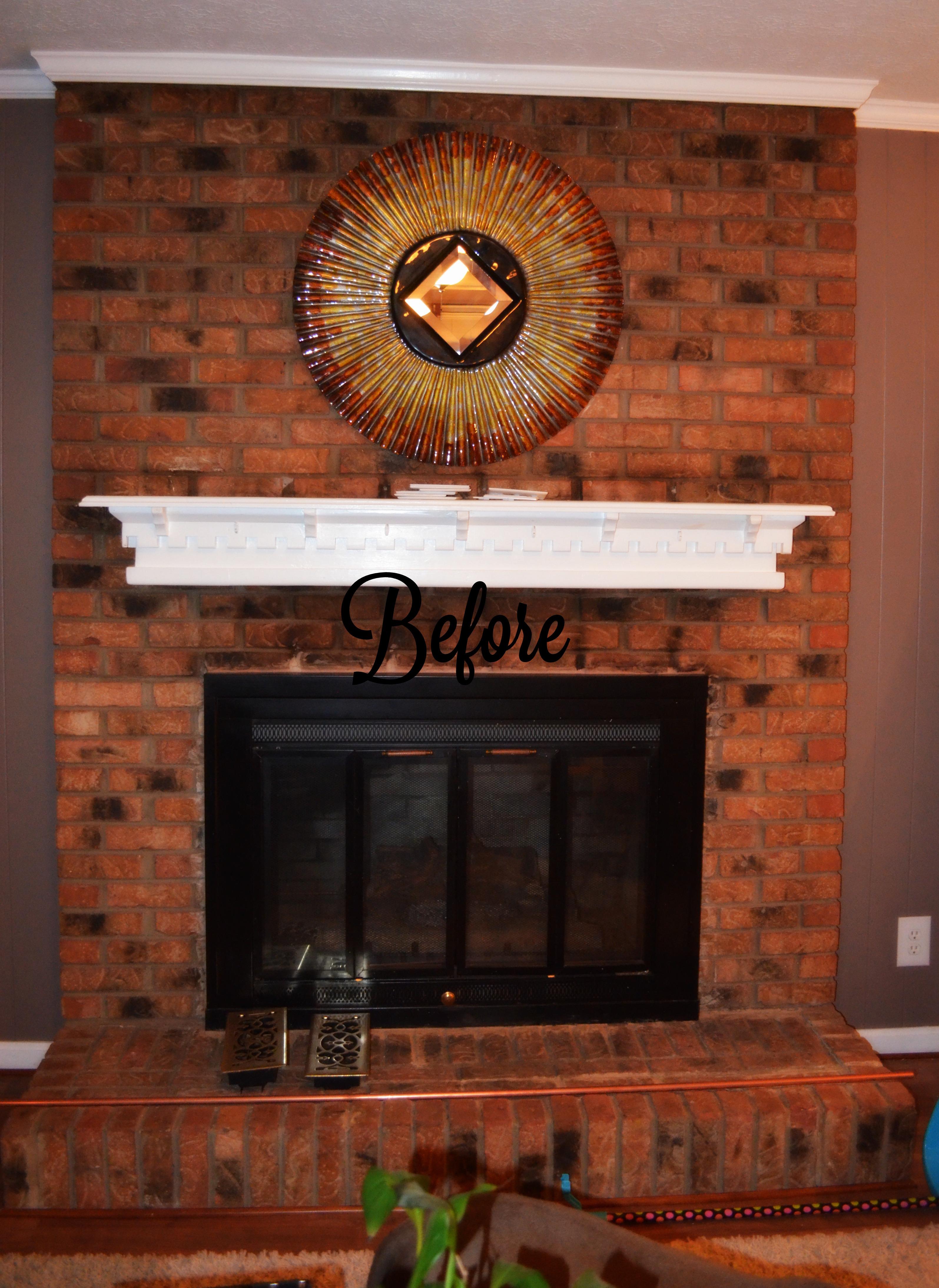 shabby paints - chalk-acrylic painted fireplace brick