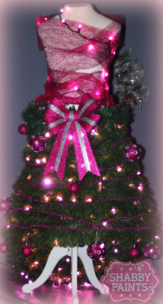 Dress form christmas tree shabby paints