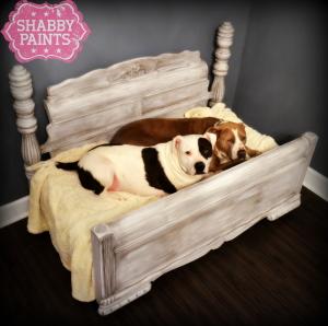 Full size bed repurposed pet bed