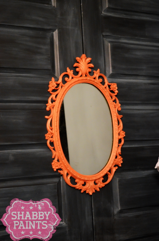Coral Painted ornate vintage mirror
