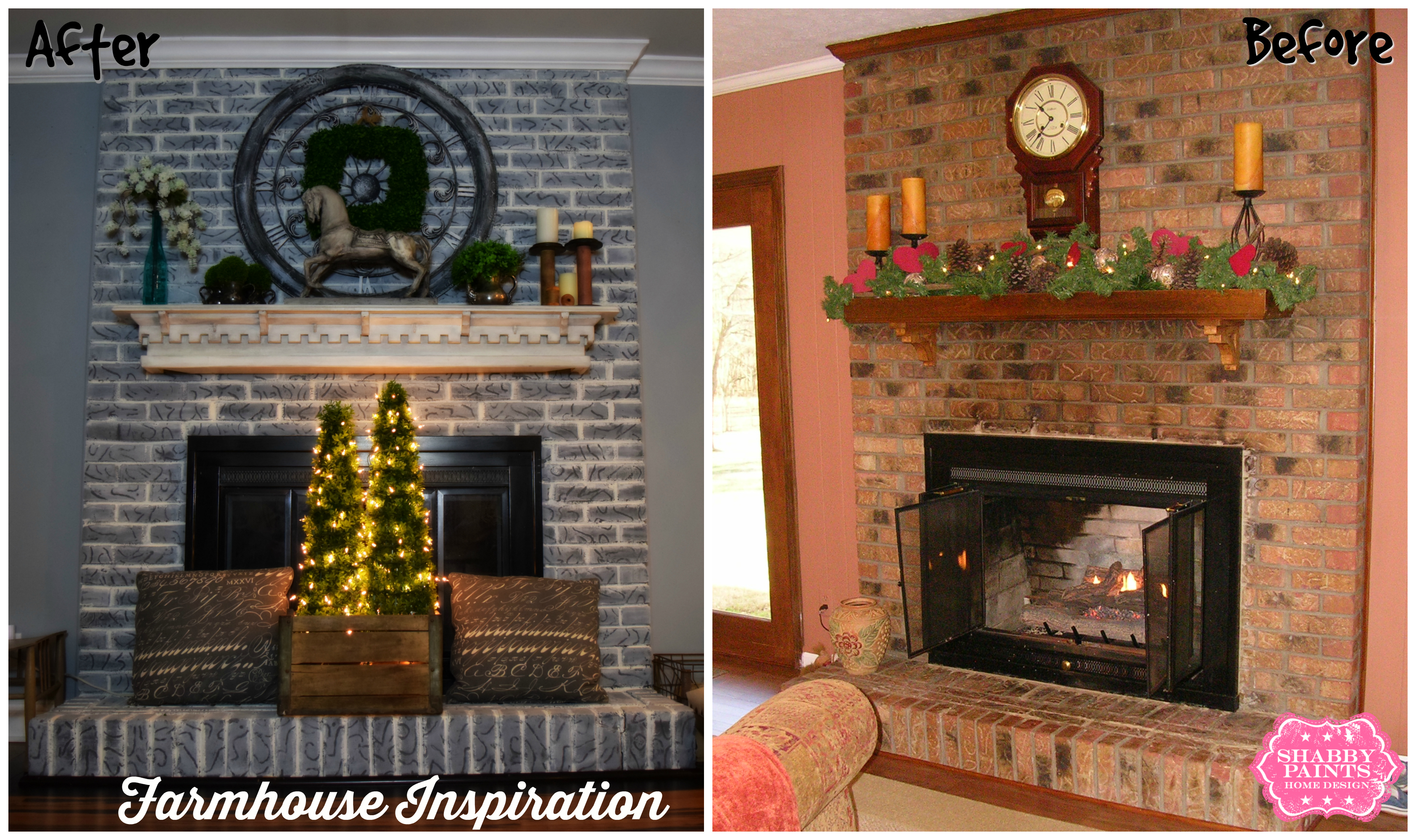 Whitewash Brick Fireplace Before And After dactus