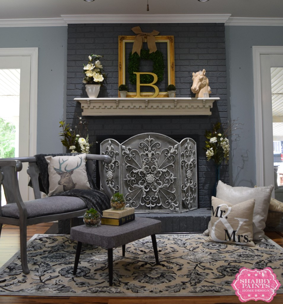 Painted brick fireplace farmhouse inspiration shabby paints for Bricks painting design
