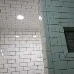 Subway tile shower black grout dark charcoal
