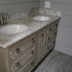 Limewashed vanity farmhouse bathroom