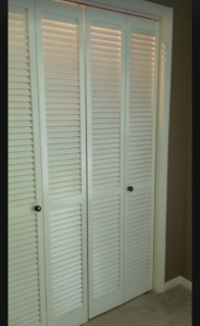Before-Farmhouse inspired Bi-Fold Closet door makeover.